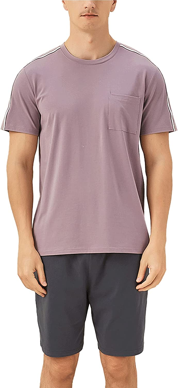 LZJDS Mens Summer Thin Pajamas Set Crewneck Pullover Short Sleeve Sleepwear PJ,Light Purple,XL