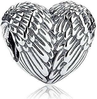 925 Sterling Silver Feathers Angel Wing Heart Shape Charm Bead Fit European Bracelet Necklace