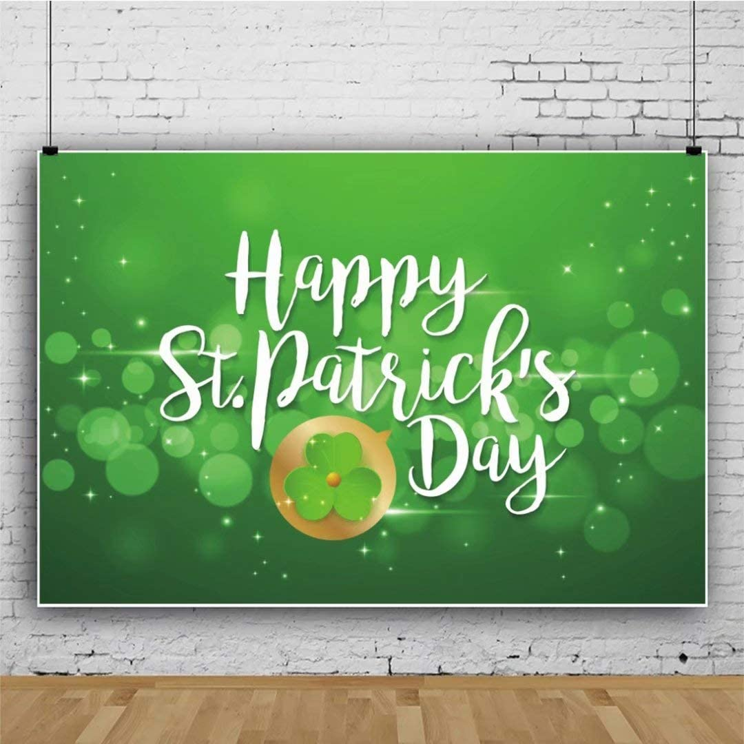 DaShan 14x10ft Happy St.Patricks Day Backdrop Lucky Shamrock Clover Photography Background Green Shamrock Lucky Spring Holiday Lucky Irish Day Decor Children Kids Adults Portraits Photo Props
