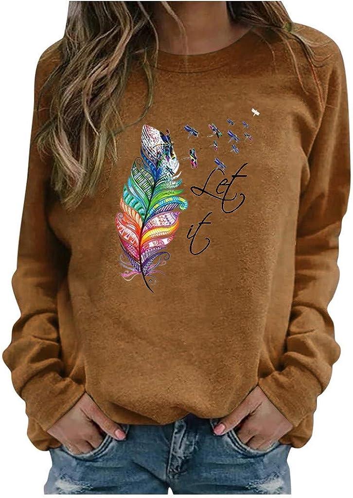 Sweatshirts for Women,Women's Plumage Printed Sweatshirt Teen Girls Letter Print Long Sleeve Casual Crewneck Tops