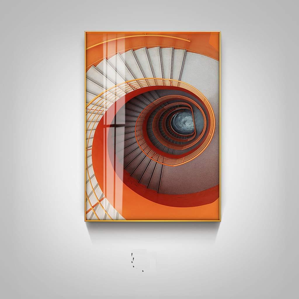 XJLXX Salón Mural Restaurante Colgando Pintura Sofá Norte Fondo Pintura Decorativa Edificio Escalera De Caracol Pintura Naranja Cuadros Decorativos (Color : A): Amazon.es: Hogar