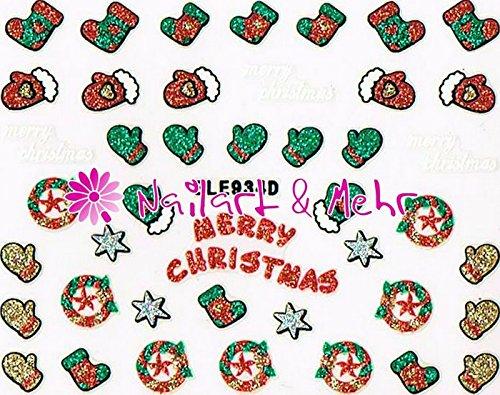 Selbstklebende Sticker mit Flitter #FL-31 ~ funklend und farbenfroh ~ WEIHNACHTEN, MERRY CHRISTMAS, FÄUSTLINGE, SOCKEN, STERNE