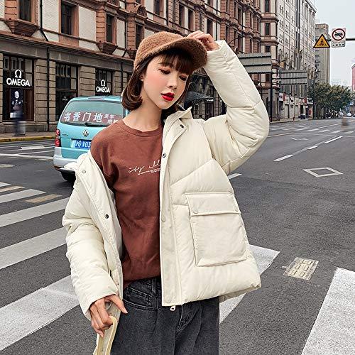 LnNyRf À Capuche en Fourrure Parker Velvet Fashion Manteau Manteau d'hiver de Poche vers Le Bas Veste Veste Confortable Manteau Chaud Manteau extérieur (Color : White, Size : L)