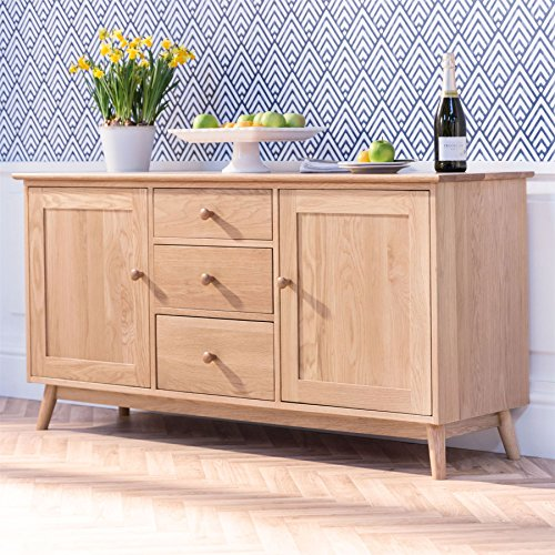 Edvard Olsen Large Solid Golden Oak Sideboard. Oak sideboard with 2 doors and 3 drawers. Fully Assembled. QUALITY SOLID OAK FURNITURE