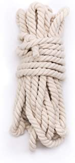 """Tosnail 50 Feet 5/8"""" Natural Triple-Strand Twisted Cotton Rope"""