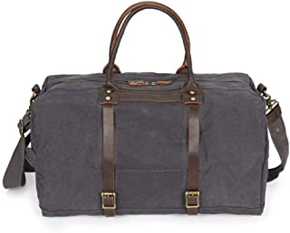 Arder Canvas Bag Leather Travel Bag Portable Large Capacity Retro Male Duffel Bag Waterproof 50 * 26 * H26CM Relaxed (Color : Gray)