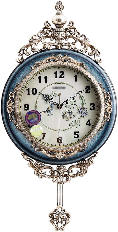 YONGMEI Wall Clock - Retro Living Room Mute Fashion Personality Clocks Creative Home Clock Art Decoration Wall Charts (color   bluee, Size   75  38cm)