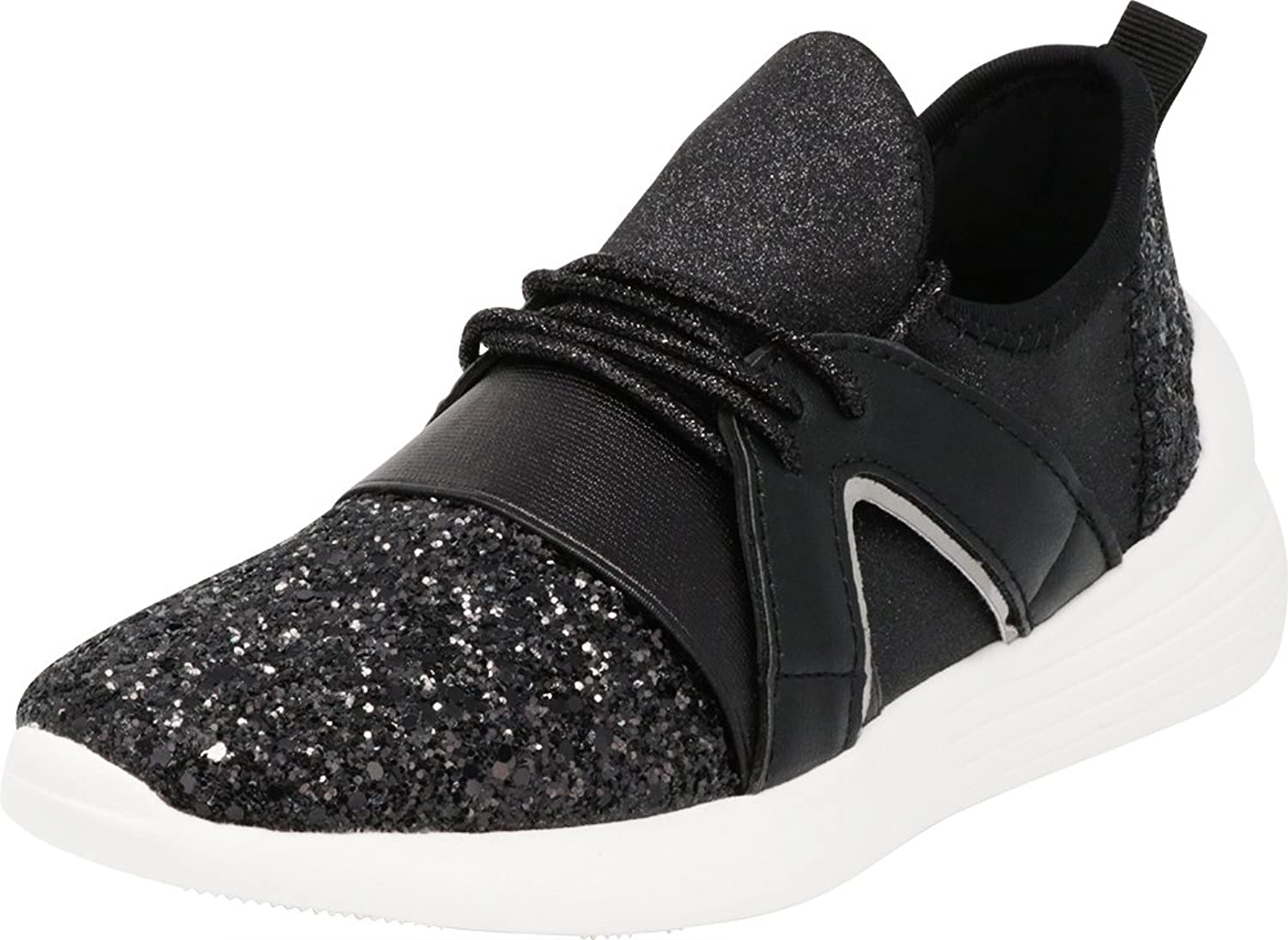 Cambridge Select Women's Low Top Closed Toe Lightweight Soft Stretch Glitter Lace-up Casual Sport Fashion Sneaker