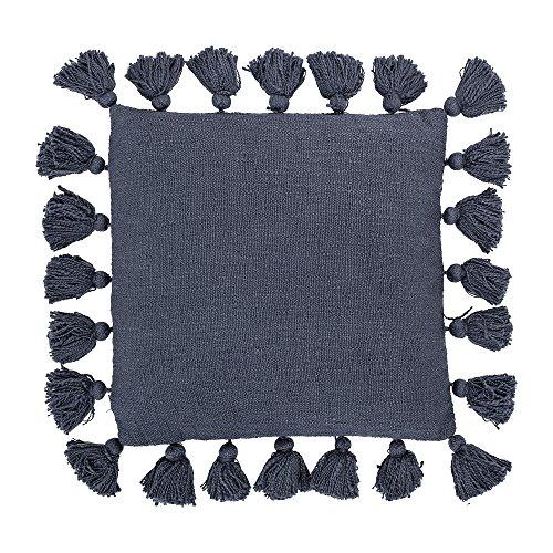 Bloomingville Kissen im Ethno Stil mit großen Quasten Ringsum in Blau Unifarben, 45x45 cm