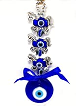 odishabazaar Evil Eye Three Horse Hanging for Good Luck and Prosperity Horse Zodiac, blue