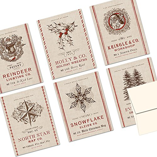 Note Card Cafe Christmas Greeting Card Set with Envelopes | 72 Pack | Blank Inside, Glossy Finish | 6 Vintage Burlap Holiday Designs | Bulk Set for Greeting Cards, Occasions, Birthdays