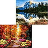 "Layaw 2 Pack Paint by Numbers for Adults Kids -DIY Oil Painting Acrylic Paint by Number Kits 16""x20""..."