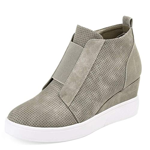 cdd938bc0bf6 Nailyhome Womens Sneakers Wedges High Top Side Zipper Slip On Platform  Sneakers