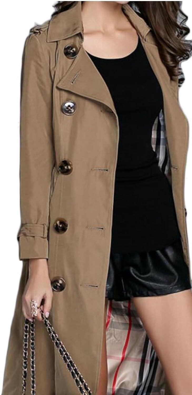 Desolateness Women's Double Breasted Lapel Windbreaker Parka Overcoat Trench Coats Jackets