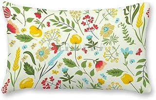 happygoluck1y - Fundas de cojín rectangulares sin costuras con flores y hierbas, 30 x 50 cm, lona, fundas de almohada decorativas para sillas, recámara y niños