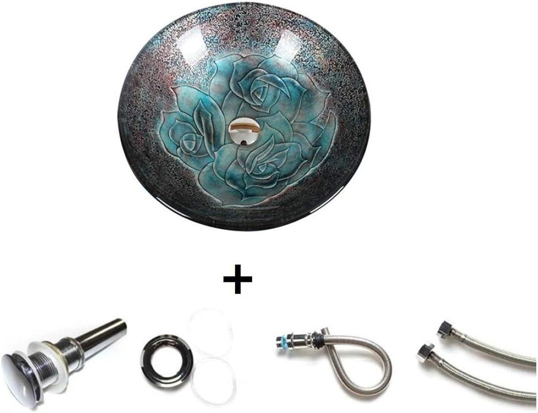 AQAWAS Geformtes Art-Waschbecken-Becken, über Gegenbecken, transparente Glas-Reihen-Waschbecken, Badezimmer-Persnlichkeit Kreatives ausgeglichenes Glaswaschbecken, Kratzer-Widerstand,B