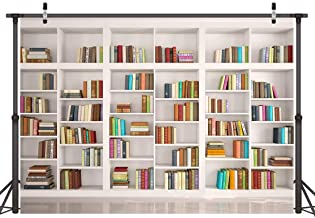 LYWYGG 7X5FT Bookshelf Backdrop Bookcase Backdrops Library Backdrop Office Backdrop for Video Conference Vintage Party Background Books CP-259