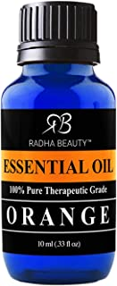 Radha Beauty -100% Pure Orange Essential Oil - 10ml bottle - Undiluted Therapeutic Grade - Cleanse Uplift and Focus