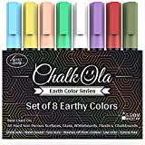 Chalk Pens - Pack of 8 Earth Colour Markers - Use on Whiteboard