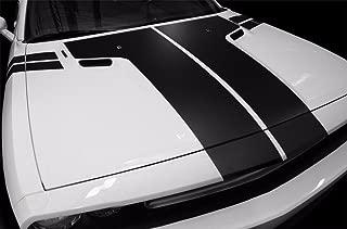 Factory Crafts Dodge Challenger 2008-2013 T-Hood Stripe Graphics Kit 3M Vinyl Decal Wrap - Matte Black
