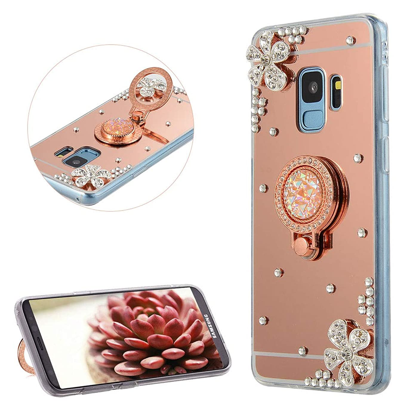 DasKAn Rhinestone Mirror Case for Samsung Galaxy S9 Plus with Metal Finger Holder Ring Stand,Crystal 3D Diamond Design Slim Soft Silicone Back Cover Flexible TPU Protective Phone Case,Rose Gold#1