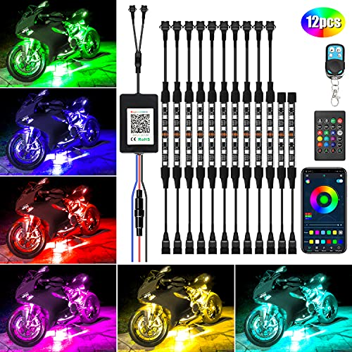 Motorcycle Led Light Kit,12Pcs Motorcycle Lights Underglow Waterproof Motorcycle LED Strip Light with APP IR RF Remote Controllers,Music Sync RGB LED Lights for Motorcycles, DC 12V