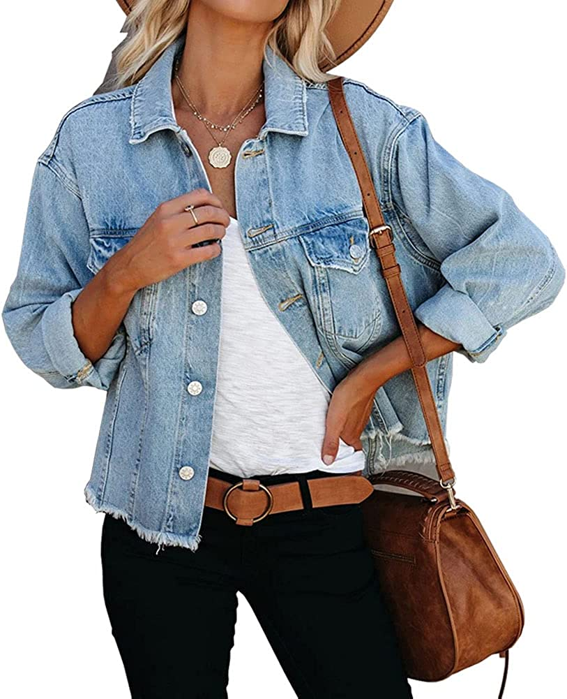 Laviqk Women's Oversize Vintage Denim Jackets unisex Trucker Max 84% OFF Original J