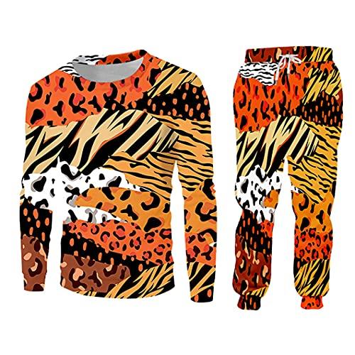 Traje de 2 Piezas para Hombre Traje Animal Impresión 3D Patchwork Imprimir Harajuku Sudadera con Capucha y Pantalones SWPA61257 XXL