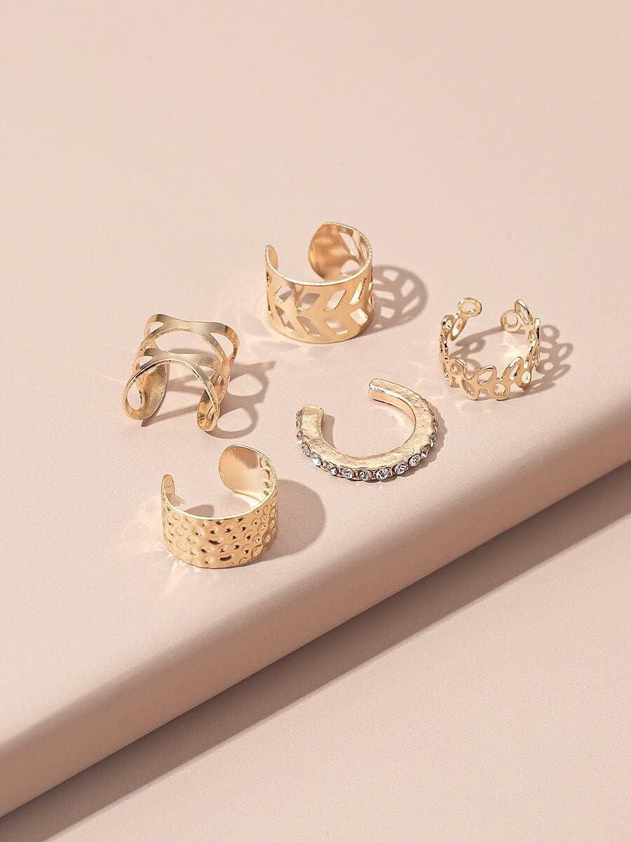 LCUY Hoop Earrings 5pcs Rhinestone Decor Ear Cuff (Color : Gold)