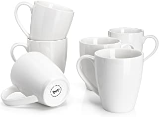 Sweese 601.001 Porcelain Mugs – 16 Ounce for Coffee, Tea, Cocoa, Set of 6, White