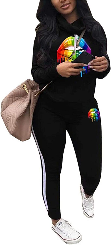 Women's Letter Print Regular store 2 Piece Outfits Set Max 45% OFF Suit Neck Cowl Jogging