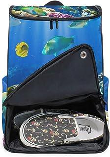 DEZIRO - Mochila para ordenador portátil, diseño de peces de coral subacuático, para mujer y hombre, universidad, escuela, mochila de negocios, mochila para negocios.