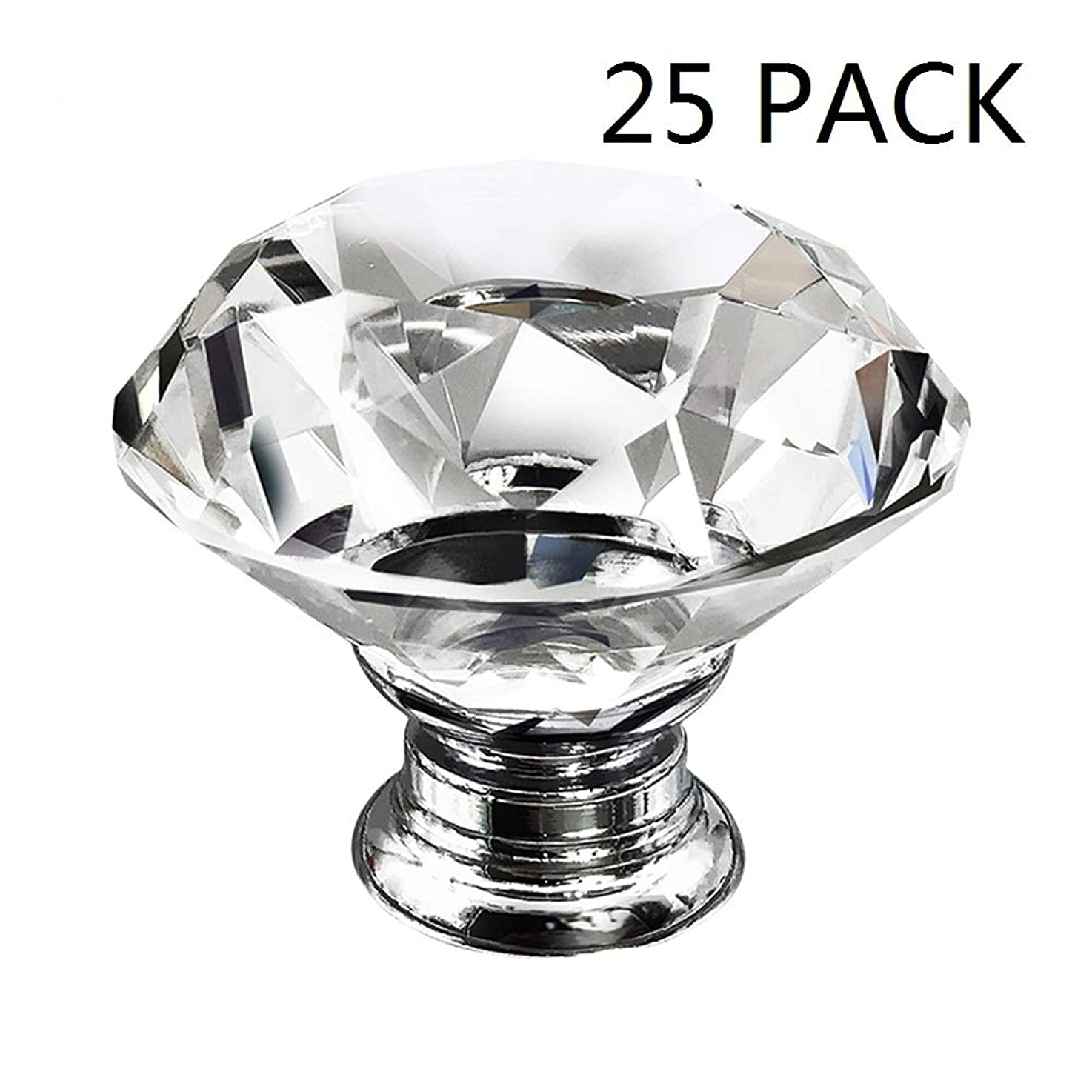 Dresser Crystal Knobs - 30MM 25 PCS Glass Crystal Drawer Knobs Pulls Cabinet Handle for Home Kitchen Wardrobe Cupboard kcxoeunfvalcm1