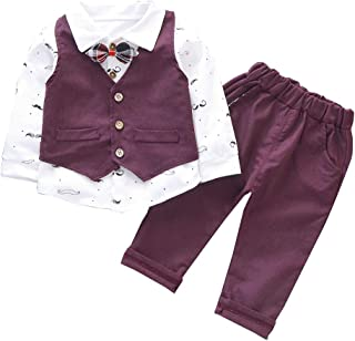 HZXVic Baby Boy Girl Clothes 3Pcs/Set Bow Ties Shirts + Vest + Pants Gentleman Outfit Suits for Kids