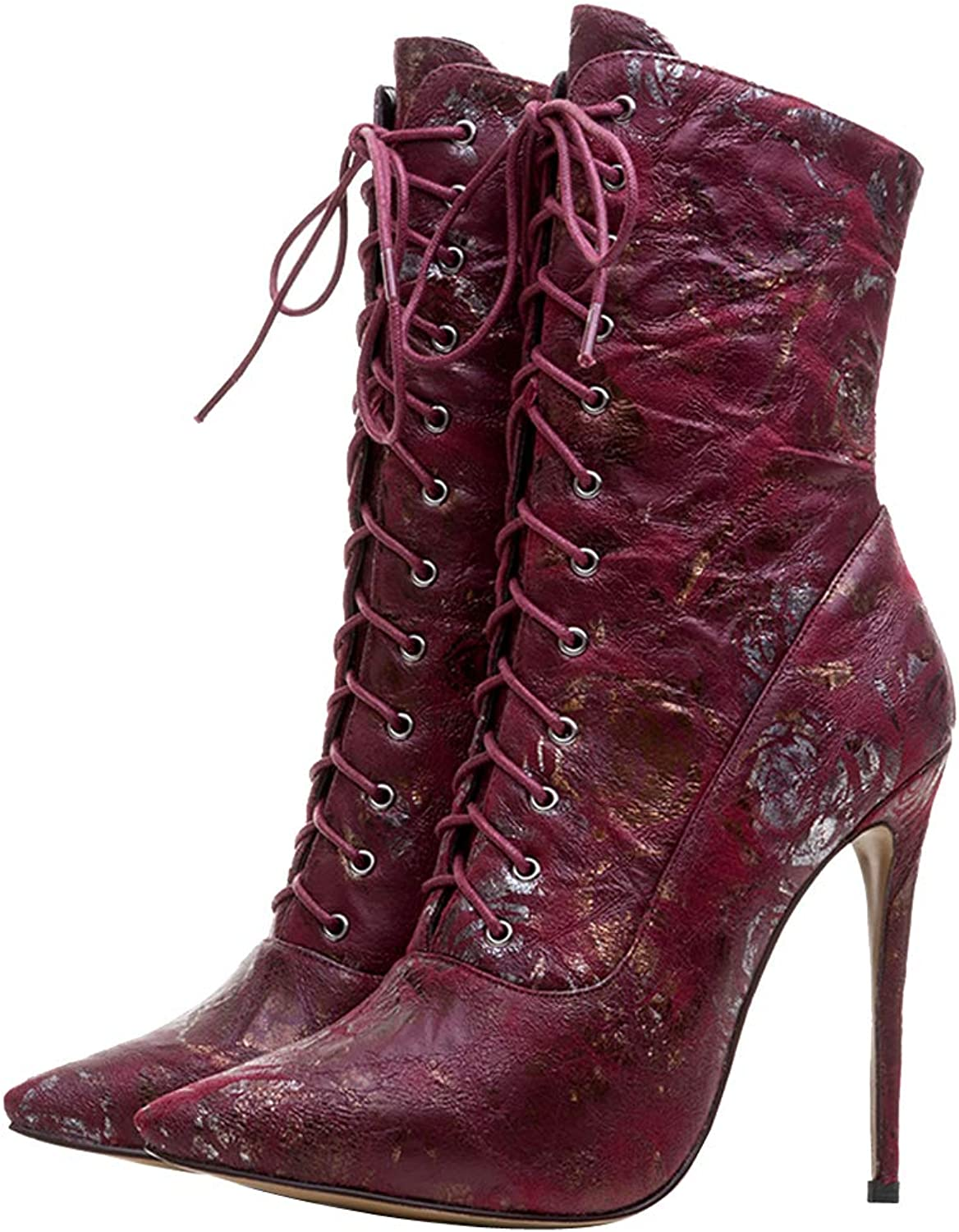 Themost Womens Ankle Boots,Lace Up High Heel Boot Winter Pointed Toe Booties pink