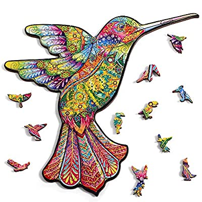 Wooden Jigsaw Puzzles-Decorative Hummingbird 108 Unique Shape Jigsaw Pieces-Best Gift for Adults and Kids, 10.7 x 7.5 inches by Bayobii