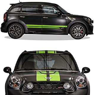 Bubbles Designs Side Hood Roof Rear Racing Stripe Kit Decal Vinyl Graphic Compatible with Mini Countryman