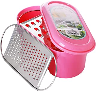 Al Hoora 15X8cm Stainless Steel Grater W/2 Different Blade, Container & Attractive Pink Color