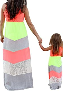 4f0a9363d1410 BYM Mommy Daughter Outfits Summer Sleeveless Striped Casual Print Tank Maxi Long  Dress