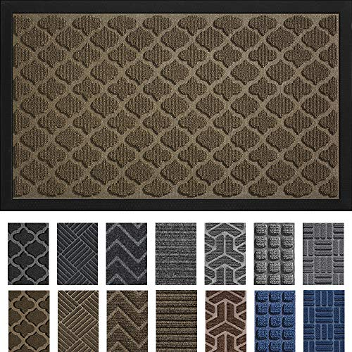 DEXI Outdoor Mat Front Door Indoor Entrance Doormat,Small Heavy Duty Rubber Outside Floor Rug for Entryway Patio Waterproof Low-Profile,17