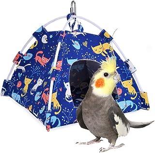 Mumoo Bear Bird Nest Snuggle Hut, Parrot Habitat Cave Hanging Tent, Blue Cat
