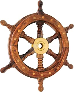 Nautical Specials SH 8762-VC Nautical Sheesham Wood Ship Wheel with Brass Center Home Decoration Gifts (18