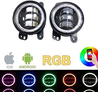 SXMA 4 Zoll 10.2cm Runde LED Nebelscheinwerfer Farbe RGB Halo Ring DRL LED Nebelscheinwerfer Frontstoßstange Licht Bluetooth Steuerung für 2007 2017 J eep Wrangler JK JKU