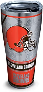 Tervis 1266041 NFL Cleveland Browns Edge Stainless Steel Tumbler with Clear and Black Hammer Lid 30oz, Silver