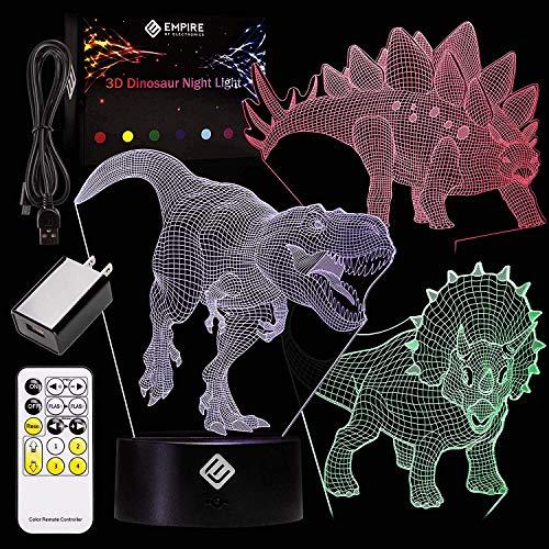 3D Dinosaur Night Light Illusion - Verwendet 3 Acryl-Dinosaurier-Panels und 7 einzigartige Farben - Fernbedienung zum Ändern von Farbe, Muster und Geschwindigkeit, Nachtlicht für Kinder