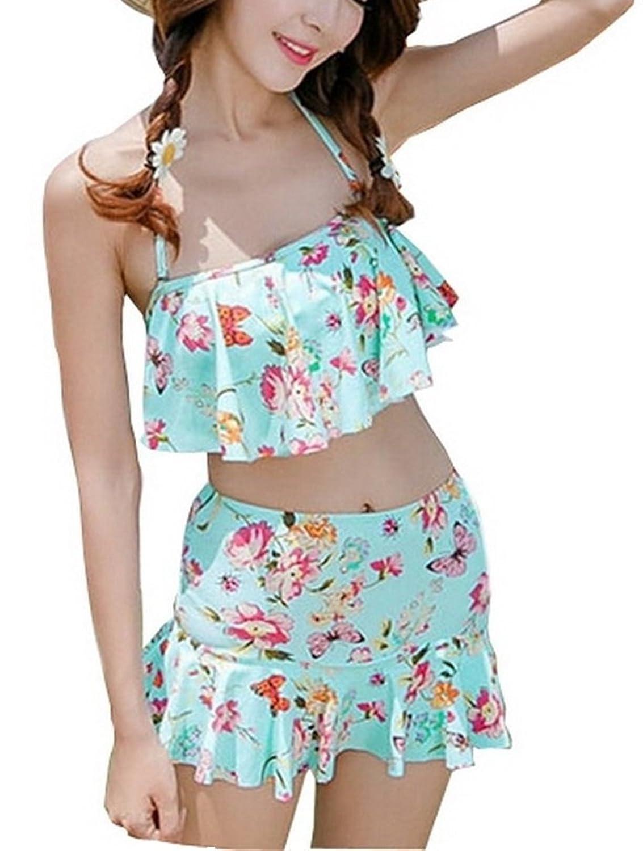 [笑顔一番] レディース 水着 可愛い 花柄 フリル 付 スカート 2点セット 体形カバー 大きい サイズ + シュシュ + スマホケース [A140-11]