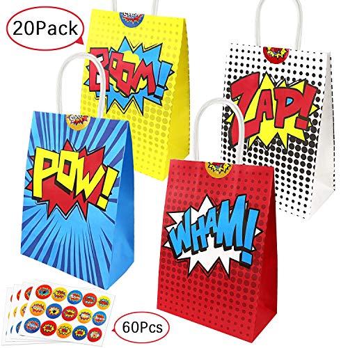 Paquete de 20 bolsas de fiesta de superhéroes y 60 pegatinas de superhéroe para bolsas de fiesta, bolsas de fiesta de cumpleaños con tema de superhéroe