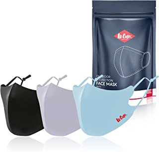 Lee Cooper Cotton Washable and Reusable Face Mask (Multicolour, Pack of 3) for Unisex-adult