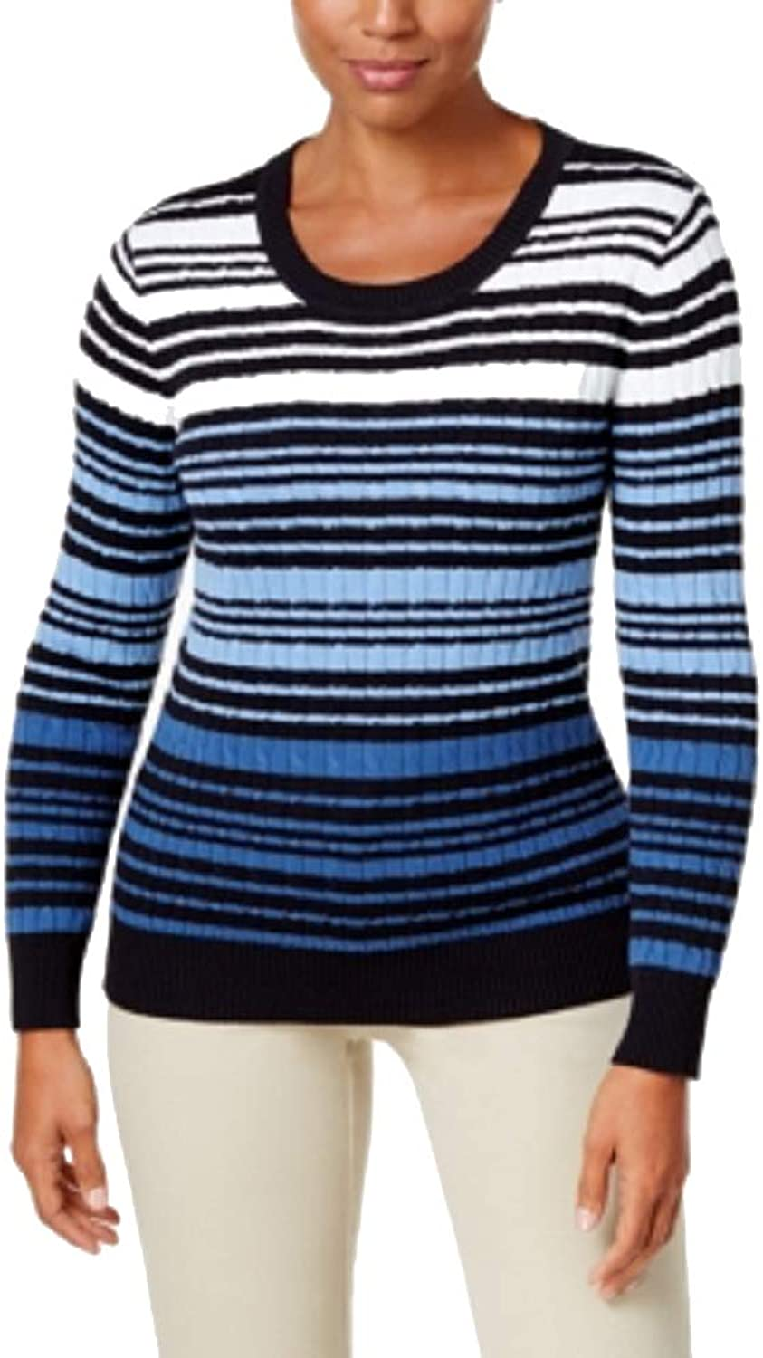 Karen Scott Cotton Striped CableKnit Sweater