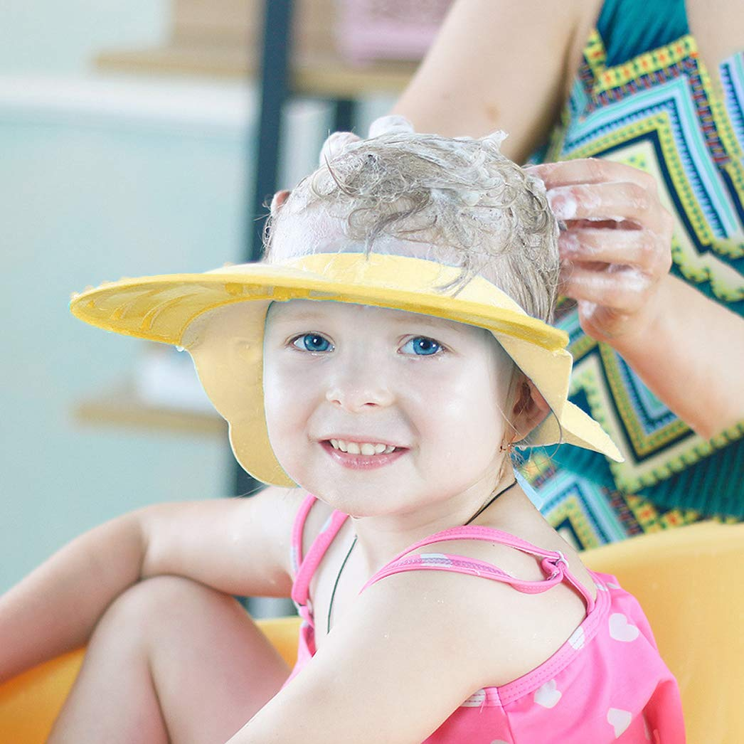 Baby Silicone Shower Cap Bathing Hat, Adjustable Shower Cap Kids, Infants Soft Protection Funny Safety Visor Cap for Toddler Children, Adjustable Sticker, Comfortable, Soft, Safe, Waterproof (Yellow)